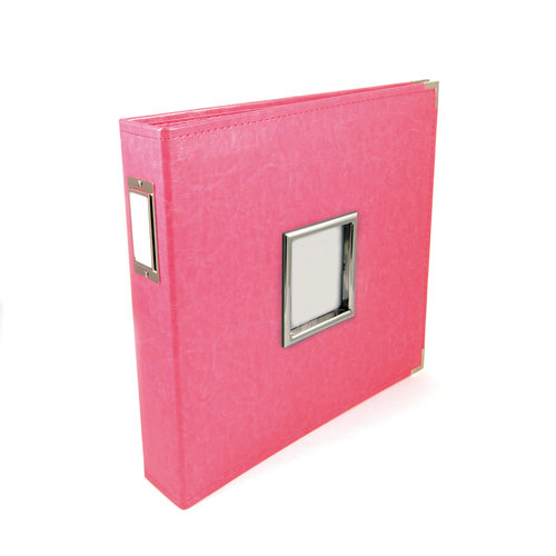 We R Memory Keepers - Classic Leather - 12 x 12 - Three Ring Albums with Window - Strawberry