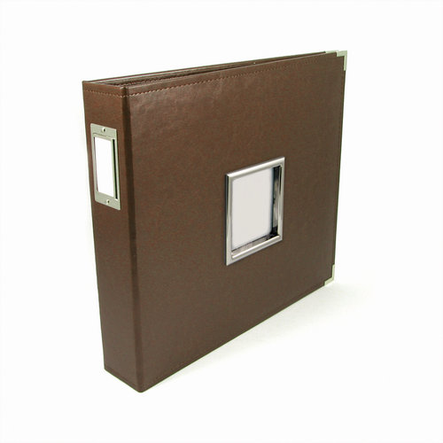 We R Memory Keepers - Classic Leather - 12 x 12 - Three Ring Albums with Window - Dark Chocolate