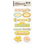 We R Memory Keepers - Madame Royale Collection - Self Adhesive Layered Chipboard with Glitter - Words
