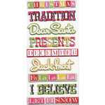 We R Memory Keepers - Merry and Bright Collection - Christmas - Self Adhesive Layered Chipboard with Glitter - Words, CLEARANCE