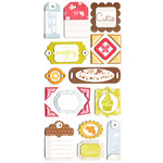 We R Memory Keepers - Twirl Collection - Self Adhesive Layered Chipboard with Glitter - Tags