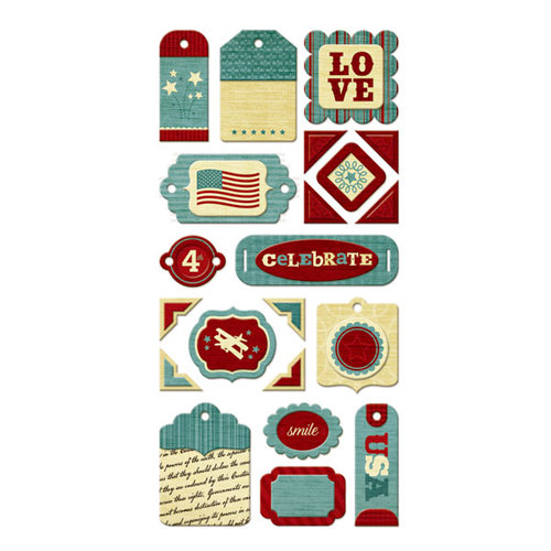 We R Memory Keepers - Old Glory Collection - Self Adhesive Layered Chipboard with Glitter Accents - Tags
