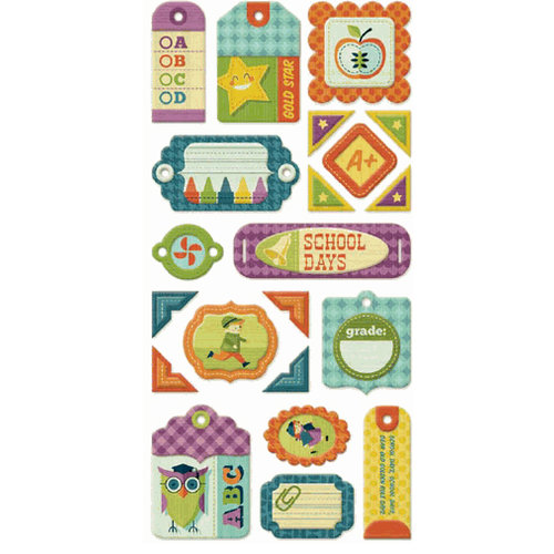 We R Memory Keepers - Show and Tell Collection - Self Adhesive Layered Chipboard - Tags
