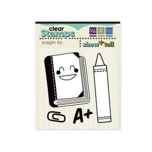 We R Memory Keepers - Show and Tell Collection - Clear Acrylic Stamps - Straight A's
