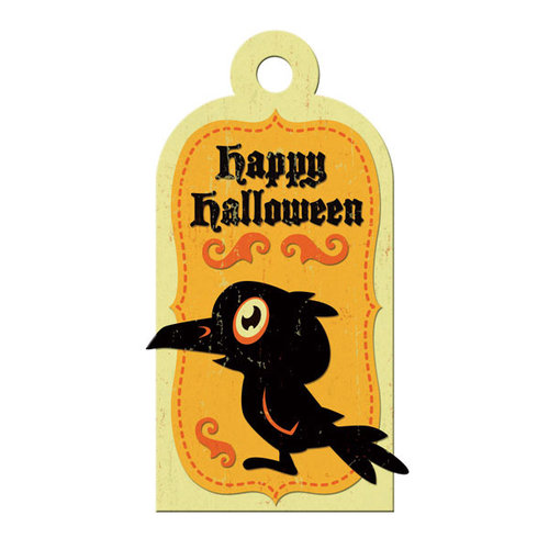 We R Memory Keepers - Heebie Jeebies Collection - Halloween - Embossed Tags - Happy Halloween, CLEARANCE