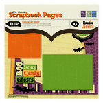 We R Memory Keepers - Heebie Jeebies Collection - Halloween - 12 x 12 Premade Scrapbook Pages with Glitter Accents - Halloween Night, CLEARANCE