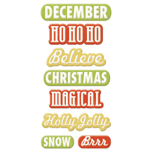 We R Memory Keepers - White Christmas Collection - Self Adhesive Layered Chipboard with Flocked Accents - Words