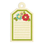 We R Memory Keepers - Embossed Tags - Green Flowers Journaling Tag, CLEARANCE