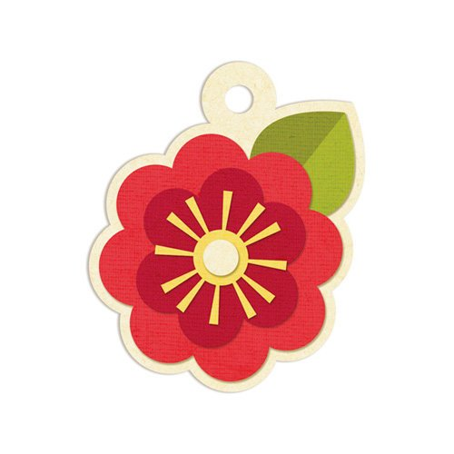 We R Memory Keepers - Embossed Tags - Red Flower