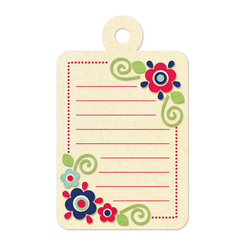 We R Memory Keepers - Embossed Tags - Red Dot Flowers Journaling Tag