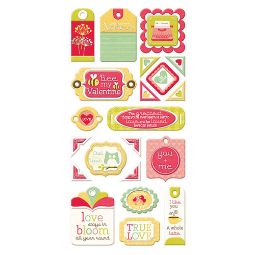 We R Memory Keepers - Be My Valentine Collection - Self Adhesive Layered Chipboard with Flocked Accents - Tags