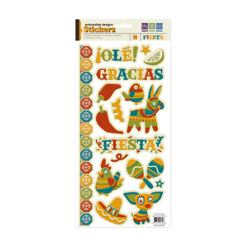 We R Memory Keepers - Fiesta Collection - Embossed Cardstock Stickers