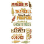 We R Memory Keepers - Autumn Splendor Collection - Self Adhesive Layered Chipboard with Glitter Accents - Words