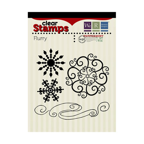 We R Memory Keepers - Peppermint Twist Collection - Christmas - Clear Acrylic Stamps - Flurry