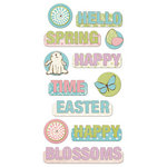 We R Memory Keepers - Cotton Tail Collection - Self Adhesive Layered Chipboard with Glitter Accents - Words