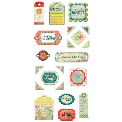 We R Memory Keepers - Anthologie Collection - Self Adhesive Layered Chipboard with Glitter Accents - Tags