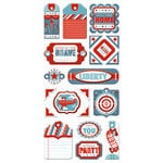 We R Memory Keepers - Red White and Blue Collection - Self Adhesive Layered Chipboard with Foil Accents - Tags