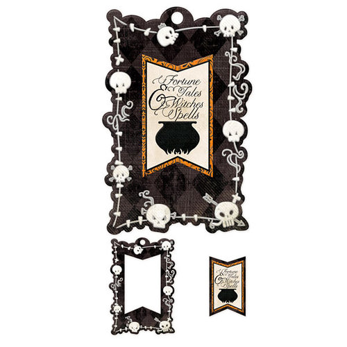 We R Memory Keepers - Black Widow Collection - Halloween - Embossed Tags - Mini Frames - Spells