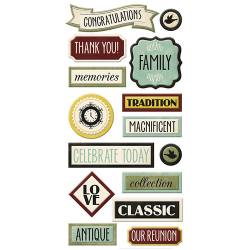 We R Memory Keepers - Antique Chic Collection - Self Adhesive Layered Chipboard - Words