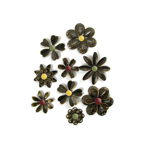 We R Memory Keepers - Antique Chic Collection - Metal Flowers