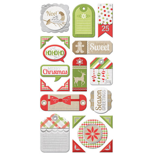 We R Memory Keepers - Yuletide Collection - Christmas - Self Adhesive Layered Chipboard with Foil Accents - Tags