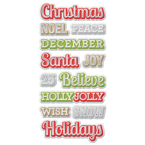 We R Memory Keepers - Yuletide Collection - Christmas - Self Adhesive Layered Chipboard with Foil Accents - Words