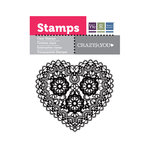 We R Memory Keepers - Crazy For You Collection - Clear Acrylic Stamps - Heart Doily