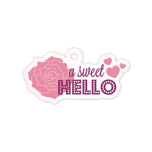 We R Memory Keepers - Crazy For You Collection - Embossed Tags - Sweet Hello