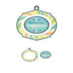 We R Memory Keepers - Feelin' Groovy Collection - Embossed Tags - Mini Frames - Happiness