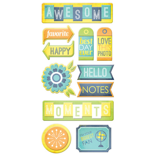 We R Memory Keepers - Feelin' Groovy Collection - Self Adhesive Layered Chipboard with Glitter Accents - Tags