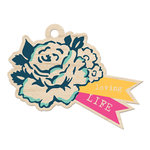 We R Memory Keepers - Inked Rose Collection - Wood Tag - Loving Life