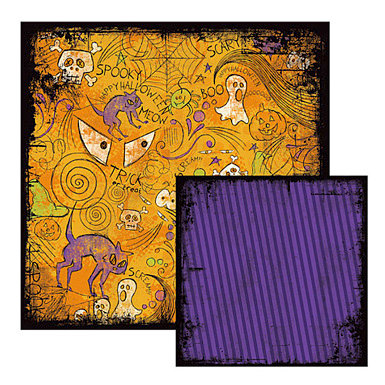 We R Memory Keepers - Black Out Halloween Collection - 12 x 12 Double Sided Paper - Fester, CLEARANCE