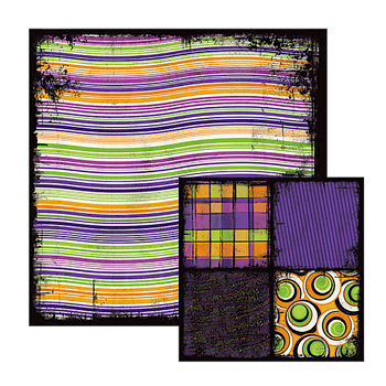 We R Memory Keepers - Black Out Halloween Collection - 12 x 12 Double Sided Paper - Lumpy, CLEARANCE