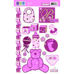 We R Memory Keepers - Embossible Designs - Embossed Cardstock Stickers - Teddy Bear Girl, CLEARANCE