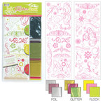 We R Memory Keepers - Adhesive Rub-On Kits - Foil Glitter Flock - Flowers and Swirls