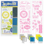 We R Memory Keepers - Adhesive Rub-On Kits - Foil Glitter Flock - Thank You, CLEARANCE