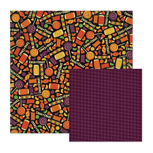 We R Memory Keepers - Heebie Jeebies Collection - Halloween - 12 x 12 Double Sided Paper - Sticky, CLEARANCE