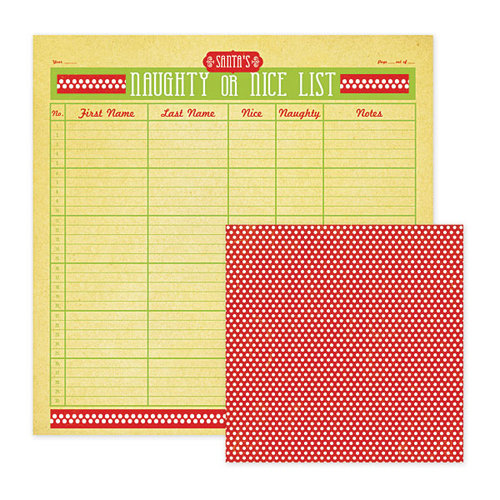 We R Memory Keepers - White Christmas Collection - 12 x 12 Double Sided Paper - Naughty or Nice, CLEARANCE
