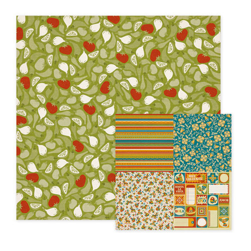 We R Memory Keepers - Fiesta Collection - 12 x 12 Double Sided Paper - Salsa