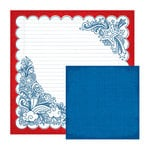 We R Memory Keepers - Yankee Doodles Collection - 12 x 12 Double Sided Paper - Corner Doodle