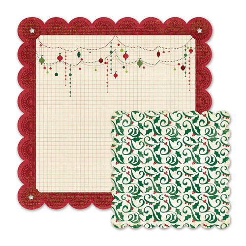 We R Memory Keepers - Peppermint Twist Collection - Christmas - 12 x 12 Double Sided Die Cut Paper - Fa-La-La