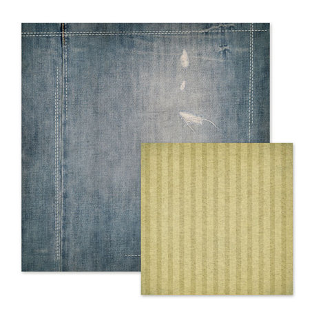 We R Memory Keepers - Vintage T Collection - 12 x 12 Double Sided Stitched Paper - Distressed Jeans