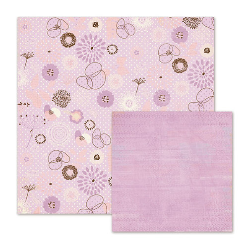We R Memory Keepers - Cotton Tail Collection - 12 x 12 Double Sided Paper - Wild Flowers