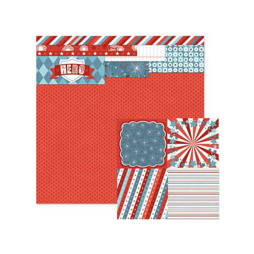 We R Memory Keepers - Red White and Blue Collection - 12 x 12 Double Sided Paper - Hero