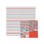 We R Memory Keepers - Red White and Blue Collection - 12 x 12 Double Sided Paper - Freedom Stripes