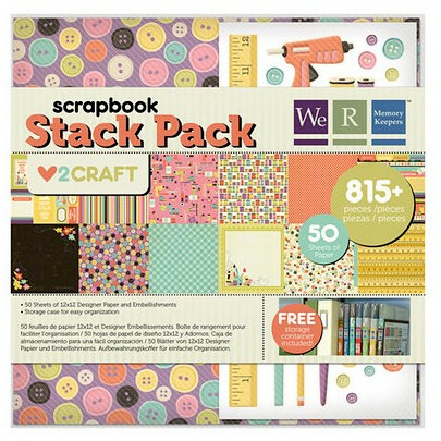 We R Memory Keepers - Love 2 Craft Collection - 12 x 12 Stack Pack with Glitter Accents