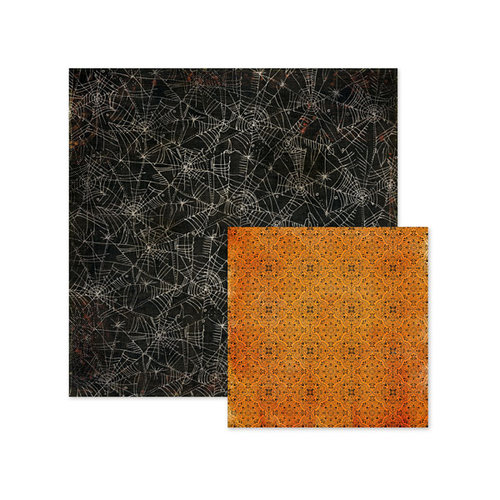 We R Memory Keepers - Black Widow Collection - Halloween - 12 x 12 Double Sided Paper - Cobweb