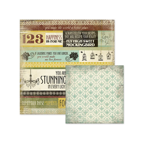 We R Memory Keepers - Antique Chic Collection - 12 x 12 Double Sided Paper - Lucille