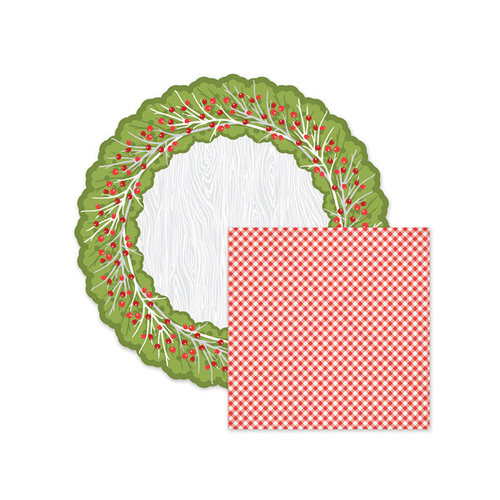 We R Memory Keepers - Yuletide Collection - Christmas - 12 x 12 Double Sided Die Cut Paper - Wreath