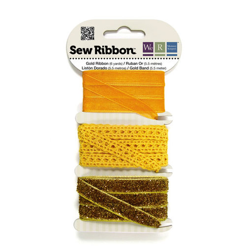 We R Memory Keepers - Sew Ribbon - Ribbon Set - Gold